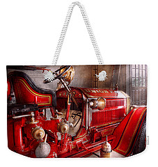 Fireman - Truck - Waiting For A Call Weekender Tote Bag by Mike Savad