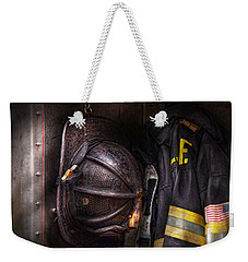 Fireman - Worn And Used Weekender Tote Bag by Mike Savad