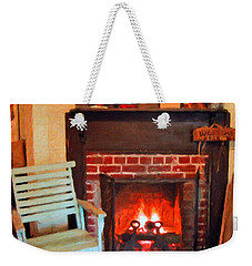 The Family Hearth - Fireplace Old Rocking Chair Weekender Tote Bag