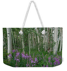 Weekender Tote Bag featuring the photograph Fireweed And Aspen by Cascade Colors