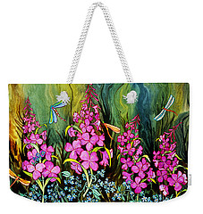 Fireweed And Dragonflies Weekender Tote Bag