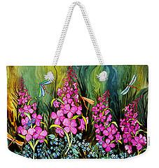 Fireweed And Dragonflies Weekender Tote Bag by Teresa Ascone