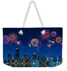 Fireworks In Miami Weekender Tote Bag by Carsten Reisinger