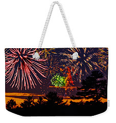 Weekender Tote Bag featuring the photograph Fireworks No.1 by Mark Myhaver