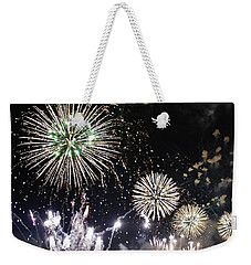 Weekender Tote Bag featuring the photograph Fireworks Over The Hudson River by Lilliana Mendez