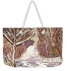 Weekender Tote Bag featuring the painting First Footprints by Tracey Williams