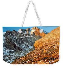 First Light At Longs Peak Weekender Tote Bag by Eric Glaser