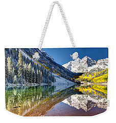First Snow Maroon Bells Weekender Tote Bag