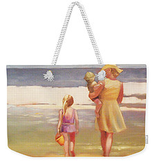 First Waves Beach Waves With Children And Mom  Weekender Tote Bag