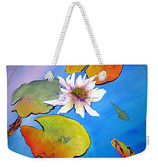Weekender Tote Bag featuring the painting Fish Pond I by Lil Taylor
