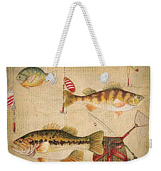 Fish Trio-a-basket Weave Border Weekender Tote Bag by Jean Plout