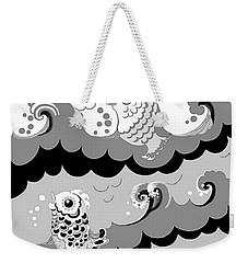 Weekender Tote Bag featuring the digital art Fish Waves by Carol Jacobs