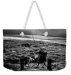 Fishing Above The Clouds Grayscale Weekender Tote Bag