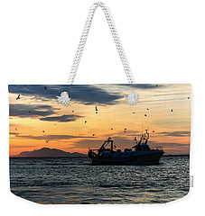 Fishing Boat At Sunset Weekender Tote Bag by Tetyana Kokhanets
