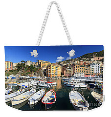Weekender Tote Bag featuring the photograph fishing boats in Camogli by Antonio Scarpi