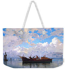 Weekender Tote Bag featuring the painting Fishing Boats On A Venetian Lagoon by Pg Reproductions