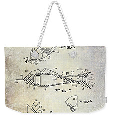 Fishing Lure Patent 1959 Weekender Tote Bag by Jon Neidert