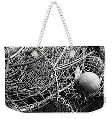 Weekender Tote Bag featuring the photograph Fishing Nets And Floats Monochrome by Jane McIlroy