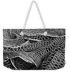Weekender Tote Bag featuring the photograph Fishing Nets Monochrome by Jane McIlroy