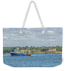 Weekender Tote Bag featuring the photograph Fishing Trawler Coming Into Port by Jane Luxton