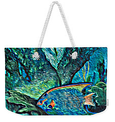 Weekender Tote Bag featuring the painting Fishscape by Ecinja Art Works