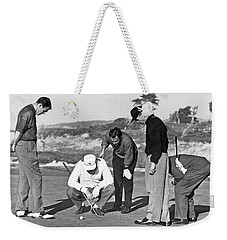 Five Golfers Looking At A Ball Weekender Tote Bag