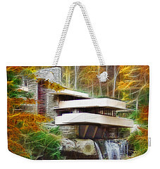 Fixer Upper - Square Version - Frank Lloyd Wright's Fallingwater Weekender Tote Bag