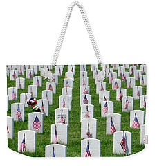 Weekender Tote Bag featuring the photograph Flags Of Honor by Ed Weidman