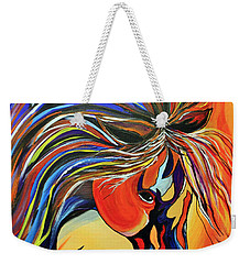 Weekender Tote Bag featuring the painting Flame Bold And Colorful War Horse by Janice Rae Pariza