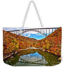 Flaming Fall Foliage At New River Gorge Weekender Tote Bag