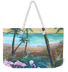 Flamingo Beach Weekender Tote Bag