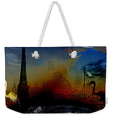 Weekender Tote Bag featuring the digital art Flamingo Pink Gone by Cathy Anderson