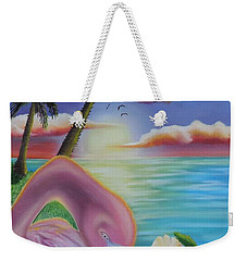 Weekender Tote Bag featuring the painting Flamingo Sunset by Dianna Lewis