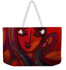 Weekender Tote Bag featuring the digital art Flamingoes- Mural Style by Latha Gokuldas Panicker