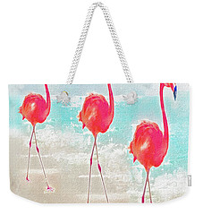 Flamingos On The Beach Weekender Tote Bag by Jane Schnetlage