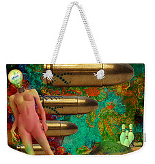 Weekender Tote Bag featuring the mixed media Flashbacks by Ally  White