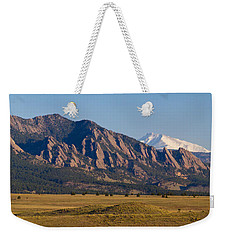 Flatirons And Snow Covered Longs Peak Panorama Weekender Tote Bag