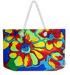 Weekender Tote Bag featuring the painting Floating Flowers by Alison Caltrider