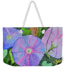 Weekender Tote Bag featuring the painting Florence's Morning Glories by Beverley Harper Tinsley