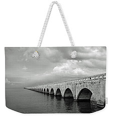 Florida Keys Seven Mile Bridge Black And White Weekender Tote Bag by Photographic Arts And Design Studio