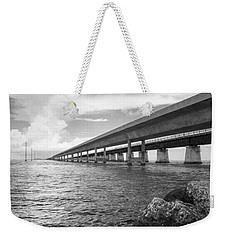 Florida Keys Seven Mile Bridge South Bw Vertical Weekender Tote Bag by Photographic Arts And Design Studio