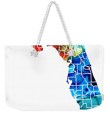 Florida - Map By Counties Sharon Cummings Art Weekender Tote Bag by Sharon Cummings