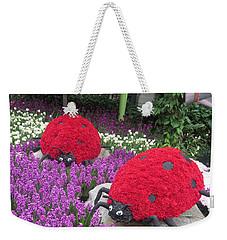 Flower Garden Ladybug Purple White I Weekender Tote Bag