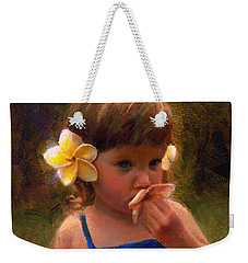 Flower Girl - Tropical Portrait With Plumeria Flowers Weekender Tote Bag by Karen Whitworth