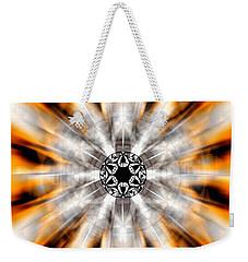Weekender Tote Bag featuring the drawing Flower Grid Sixty-three by Derek Gedney
