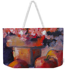 Flower Pot And Apples Weekender Tote Bag by Michelle Abrams