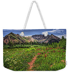 Weekender Tote Bag featuring the photograph Flower Walk by Priscilla Burgers