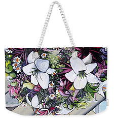 Floral Wreath Weekender Tote Bag by Mary Ellen Frazee