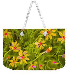 Weekender Tote Bag featuring the painting Flowerfield by Go Van Kampen