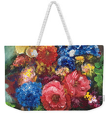 Weekender Tote Bag featuring the painting Flowers by Bozena Zajaczkowska